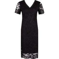 6df36e3c11 Sukienka Silvian Heach czarna z krótkim rękawem z koronką prosta