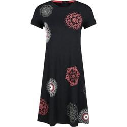 fda4d97369 Sukienka Desigual z krótkim rękawem rozkloszowana czarna z okrągłym  dekoltem midi na uczelnię