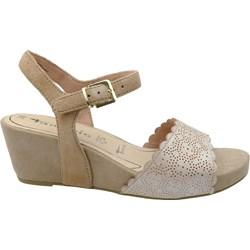 1e9bcc13 Tamaris sandały damskie z klamrą brązowe bez wzorów na średnim obcasie