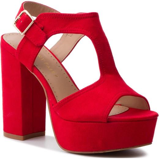 Sandały damskie Jenny Fairy na wysokim obcasie na z tworzywa sztucznego Buty Damskie EK czerwony Sandały damskie AQMI