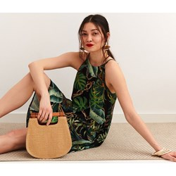 f62688513ea6f Sukienka Top Secret wielokolorowa w abstrakcyjnym wzorze z okrągłym  dekoltem casual