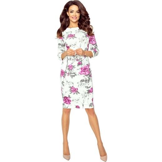 29feef3936 Sukienka ołówkowa na spacer z okrągłym dekoltem w Domodi