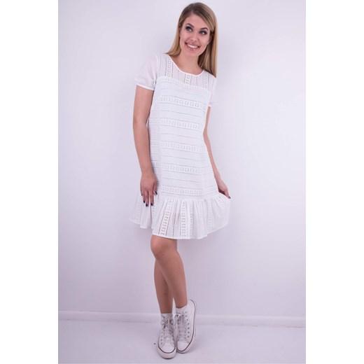 b0e6ab69 Sukienka Wibs z bawełny biała z okrągłym dekoltem na co dzień z krótkim  rękawem