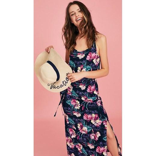 2e70d5aef8 Sukienka Diverse prosta wielokolorowa z okrągłym dekoltem na spacer maxi w  kwiaty