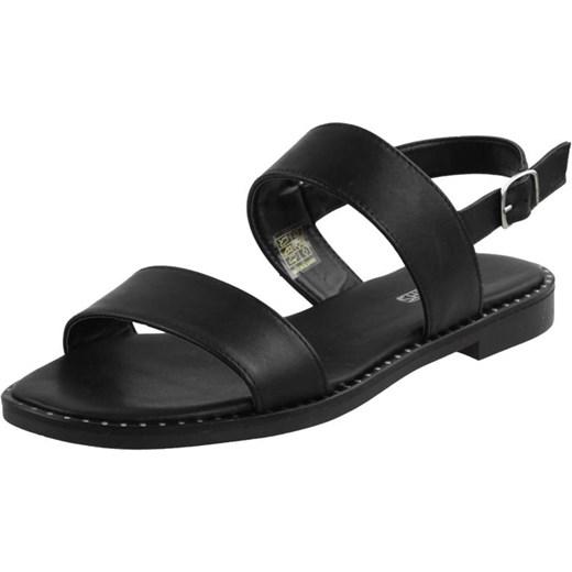 946f410c Sandały damskie czarne na płaskiej podeszwie bez wzorów z klamrą casual na  lato
