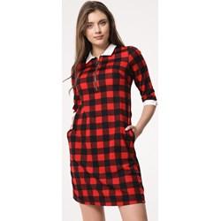 14802f612a Sukienka Born2be z długimi rękawami w kratkę koszulowa
