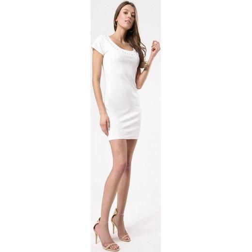 b3701726a8 ... Sukienka Born2be z okrągłym dekoltem z krótkim rękawem prosta biała na  co dzień mini ...