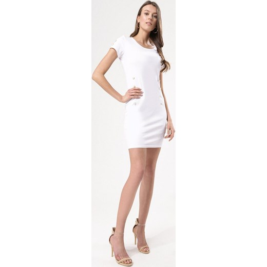 7a775e1cf5 ... Sukienka Born2be z okrągłym dekoltem gładka z krótkim rękawem biznesowa  ...