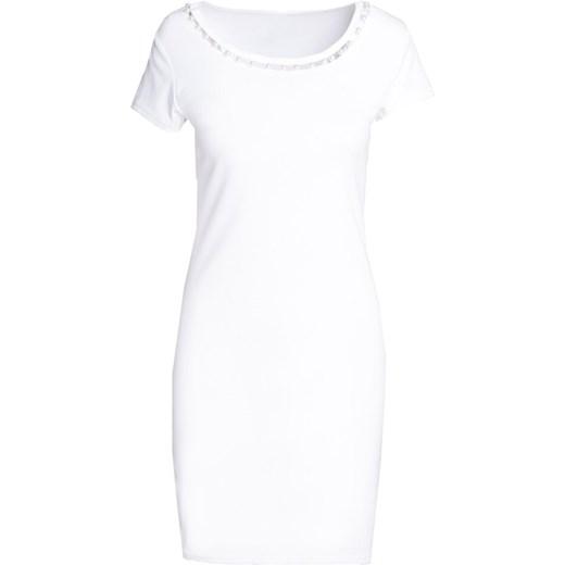 0ecc42b67e ... Sukienka Born2be na urodziny biała casual z krótkim rękawem z okrągłym  dekoltem dopasowana