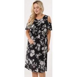 3cff7ee8e2 Sukienka czarna Born2be w kwiaty z krótkim rękawem midi
