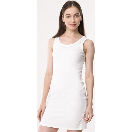 c3ff9c4a37 Biała sukienka Born2be z okrągłym dekoltem dopasowana na co dzień w ...