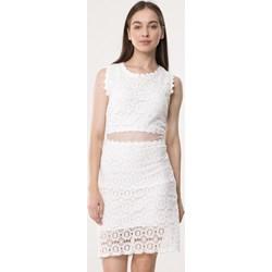 b9932046fa Sukienka Born2be biała na urodziny z koronką midi