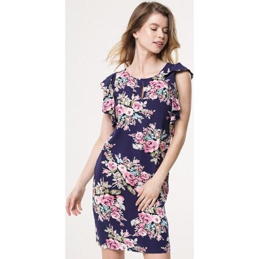 c1b8917d69 Sukienka Born2be z okrągłym dekoltem mini na lato na spacer dopasowana  Born2be  sukienka w kwiaty dopasowana z krótkim rękawem ...