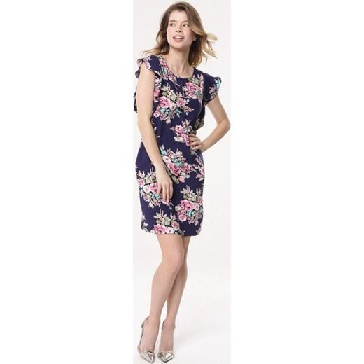 844498cdab ... Sukienka Born2be w kwiaty mini na spacer z krótkim rękawem z okrągłym  dekoltem ...