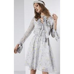 3108ed6d3b Biała sukienka Born2be z żabotem prosta