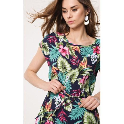 150fe23cf3 ... wielokolorowa casual  Sukienka Born2be wielokolorowa z okrągłym dekoltem  na spacer z krótkimi rękawami mini ...