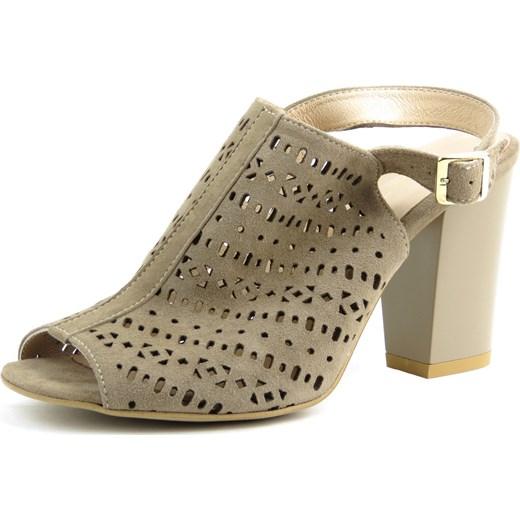 Sandały damskie Kati bez wzorów na obcasie eleganckie na średnim Buty Damskie LT brązowy Sandały damskie TXQU