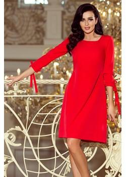 195-4 ALICE Sukienka z kokardkami - CZERWONA, Rozmiar: M   okazja Unicato  - kod rabatowy