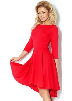 90-4 Sukienka z rękawkiem 3/4 i dłuższym tyłem - CZERWONA, Rozmiar: XL   promocja Unicato  - kod rabatowy