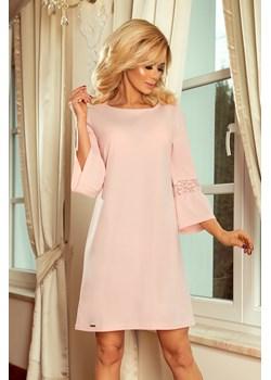 190-1 MARGARET sukienka z koronką na rękawkach - PASTELOWY RÓŻ, Rozmiar: L   okazyjna cena Unicato  - kod rabatowy