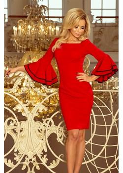 188-1 CARMEN sukienka z hiszpańskimi rękawkami - CZERWONA, Rozmiar: M   okazja Unicato  - kod rabatowy