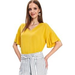 e2e467676873db Bluzka damska żółta Top Secret z krótkimi rękawami bez wzorów z dekoltem v
