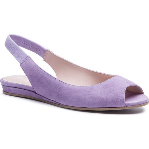 Gino Rossi sandały damskie casualowe bez zapięcia płaskie skórzane Buty Damskie FD fioletowy Sandały damskie OVFQ