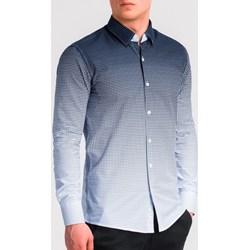 51fdcebb3 Koszula męska Ombre Clothing z poliestru z włoskim kołnierzykiem w  abstrakcyjne wzory