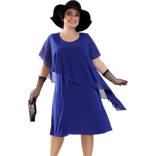 a28732af55 Niebieska sukienka Lamar bez wzorów z okrągłym dekoltem z dzianiny w ...