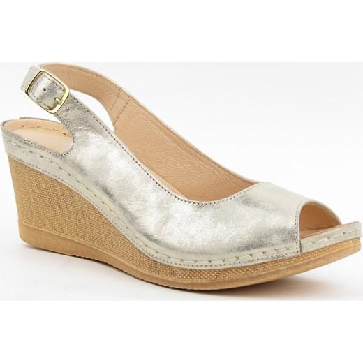 Sandały damskie Agxbut skórzane na wysokim obcasie gładkie casual Buty Damskie AT złoty Sandały damskie JNVI