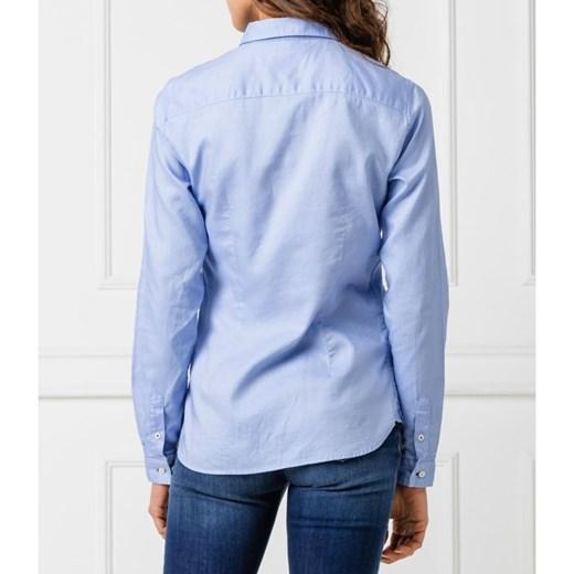 9d4f6dddfad7ba ... niebieska z kołnierzykiem; Koszula damska Tommy Hilfiger z kołnierzykiem  elegancka z długim rękawem ...