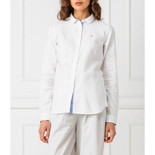 49a0d8000821d2 ... Koszula damska Tommy Hilfiger bawełniana elegancka z kołnierzykiem z  długim rękawem ...