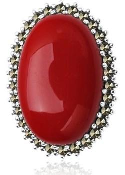broszka srebro koral rekonstruowany jubiler-pl czerwony elegancki - kod rabatowy