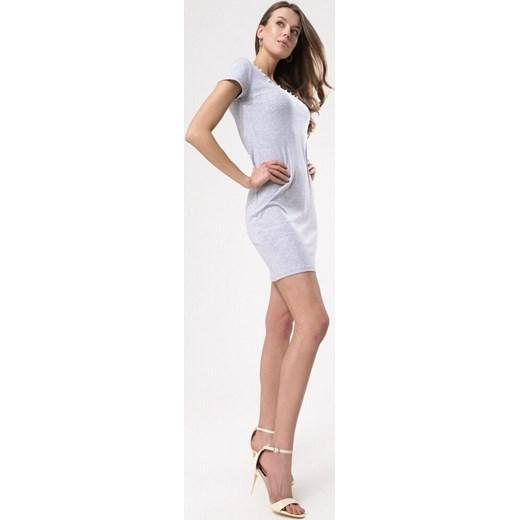 757bd81039 Sukienka Born2be szara dopasowana mini z okrągłym dekoltem w Domodi