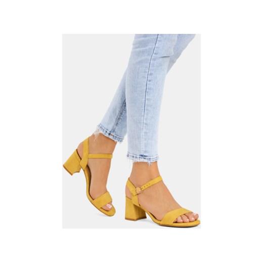 Żółte sandały damskie DeeZee na obcasie eleganckie z niskim obcasem z klamrą Buty Damskie GJ żółty Sandały damskie IZHH