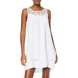 8b89bf04 Biała sukienka 100% Lino na co dzień wiosenna z okrągłym dekoltem