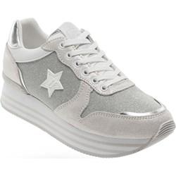 fc71af69a69bc Buty sportowe damskie Trussardi Jeans sneakersy młodzieżowe casualowe  skórzane sznurowane na platformie