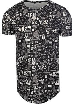 T-Shirt Męski Slim Fit Przedłużany od Neidio TS1921 Czarny  Neidio promocyjna cena Neidio.pl  - kod rabatowy