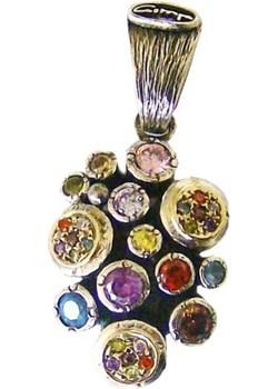 Barwna zawieszka - srebro, złoto, cyrkonie  Astorga Luxuryproducts.pl - kod rabatowy
