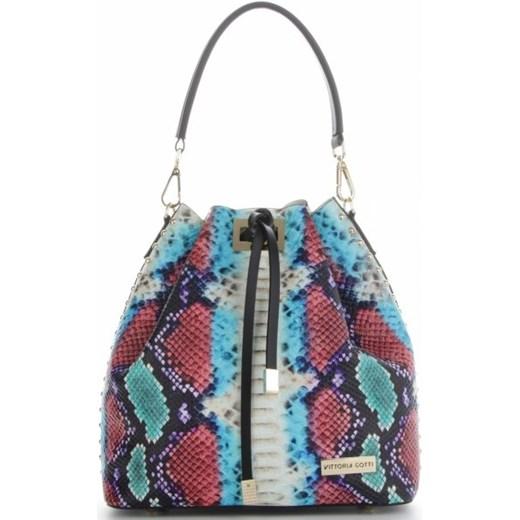 209663afaf168 Vittoria Gotti Firmowe Torebki Skórzane Ekskluzywny Shopper Made in Italy w  modny wzór kolorowego węża Turkus ...