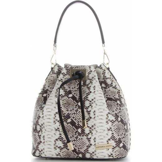 f30df55336c4d Vittoria Gotti Firmowa Torebka Skórzana Ekskluzywny Shopper Made in Italy w  modny wzór węża Czarna ...
