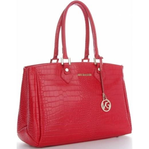 236985f849642 Vittoria Gotti Firmowe Torebki Skórzane produkcji Włoskiej w eleganckim  klasycznym stylu wzór Aligatora Czerwone (kolory ...