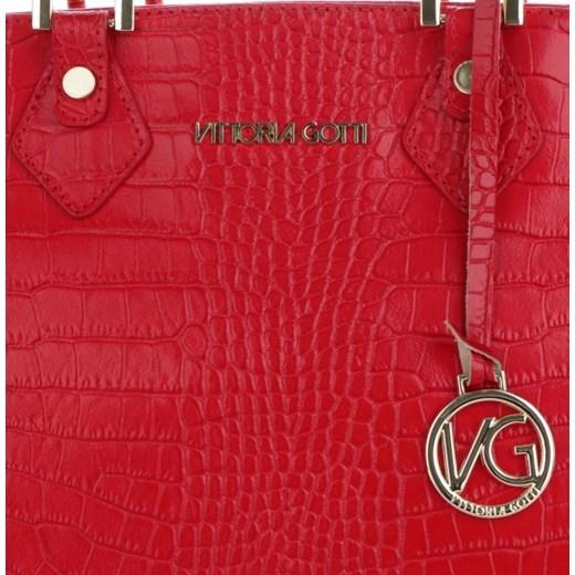 d9fbb792ef153 ... Vittoria Gotti Firmowe Torebki Skórzane produkcji Włoskiej w eleganckim  klasycznym stylu wzór Aligatora Czerwone (kolory ...