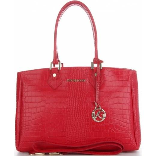 919081f06dfec ... Vittoria Gotti Firmowe Torebki Skórzane produkcji Włoskiej w eleganckim  klasycznym stylu wzór Aligatora Czerwone (kolory ...