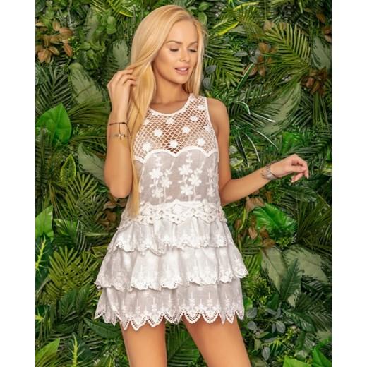 4db8d31174 Sukienka biała na wiosnę z haftem w Domodi