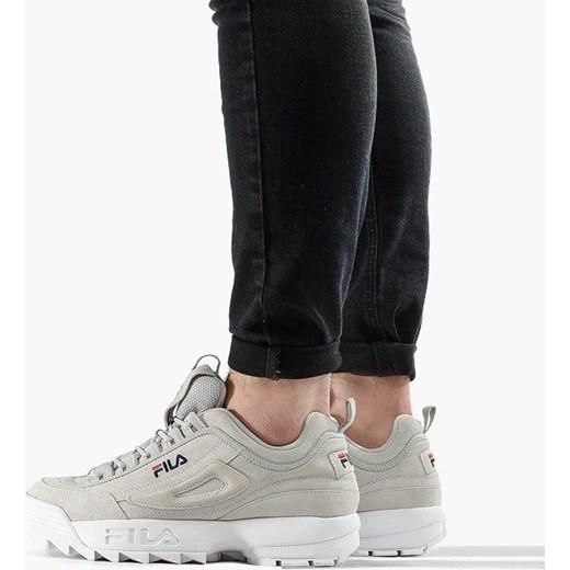 Buty sportowe męskie szare Fila sznurowane dzianiny
