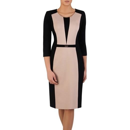 7ea5c03d1 Wyszczuplająca sukienka z broszką 14701, dwukolorowa kreacja na wiosnę.  Modbis
