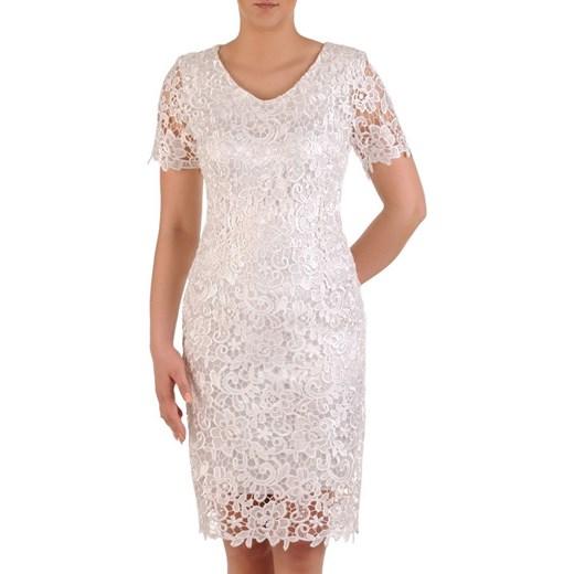995ac17623 Sukienka różowa z krótkim rękawem elegancka koronkowa midi na wesele ...