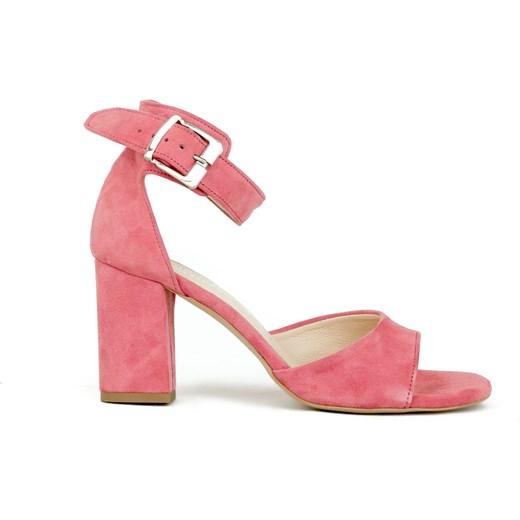 Sandały damskie różowe Zapato na obcasie z klamrą na wysokim eleganckie bez wzorów Buty Damskie DC różowy Sandały damskie LTOG
