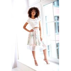 732b3f69f4 Biała sukienka Mosquito biznesowa midi